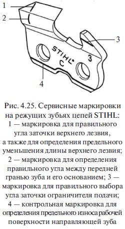 Сервисные маркировки на режущих зубьях цепей STIНL
