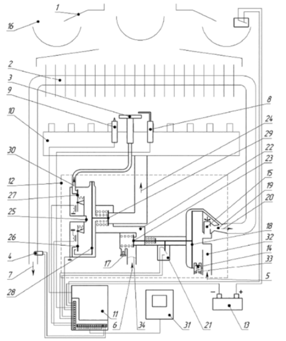 Функциональная схема водонагревателя NEVALUX 6011