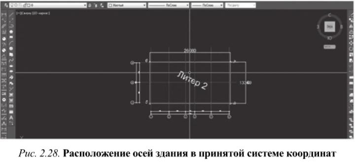 Расположение осей здания в принятой системе координат