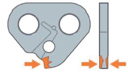 На обеих плоскостях боковых выступов ведущих звеньев, не обязательно следующих друг за другом, имеются зарубины
