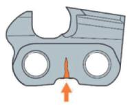 Трещины в нескольких расположенных напротив режущих зубьев соединительных звеньях