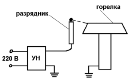 Схема электророзжига горелки плиты